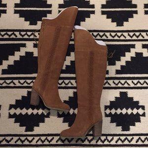Over the Knee Tan Suede High Heel Boots